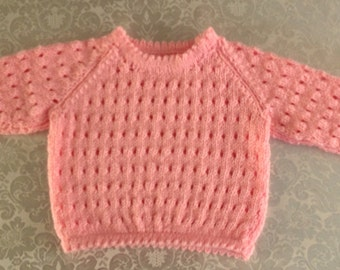 Delicate Baby Lacy jJumper in pink with picot edgings