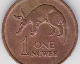 Aardvark copper coin - animal coin - Vintage 1983 copper coin from Zambia - collectible coins - coins for crafts - km9 9a