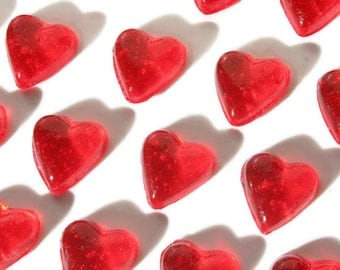 Red Candy Hearts - 20 Pack Hard Candy Valentines Day - Wedding Favors, Baby Shower, Cake Decorations, Party Favors, Be My Valentine