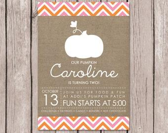 Pink Pumpkin Birthday Invitation  //  Fall Birthday Invitation // Fall Party // Pumpkin Party // DIY Printables