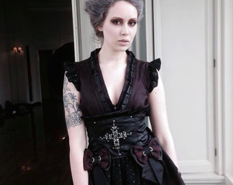 Gothic geisha assassin long bridal dress kimono