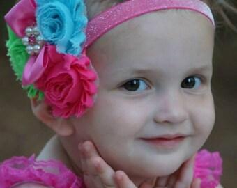 Hot Pink Headband/Shabby Chic Headband/Infant Headband/Newborn Headband/Toddler Headband/Girls Headband/Birthday Headband/Couture Headband