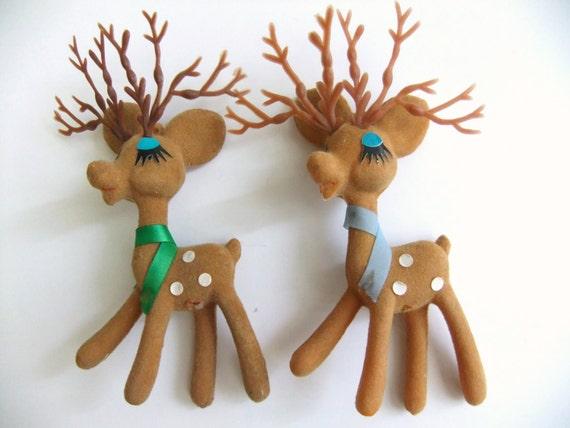 Vintage Deer Christmas Ornaments Felt Flocked By VintageByJade