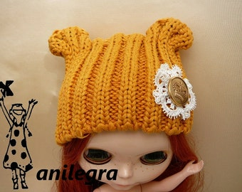 Hat with ears for bhythe, pullip, nancy, or similar doll