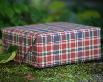 Lumberjack Tartan Custom Wrapping Paper In Brown, Red, Tan And White Colors.
