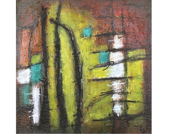 abstract geometric original painting green teal turquoise rust chartreuse Reeds Leah Fitts