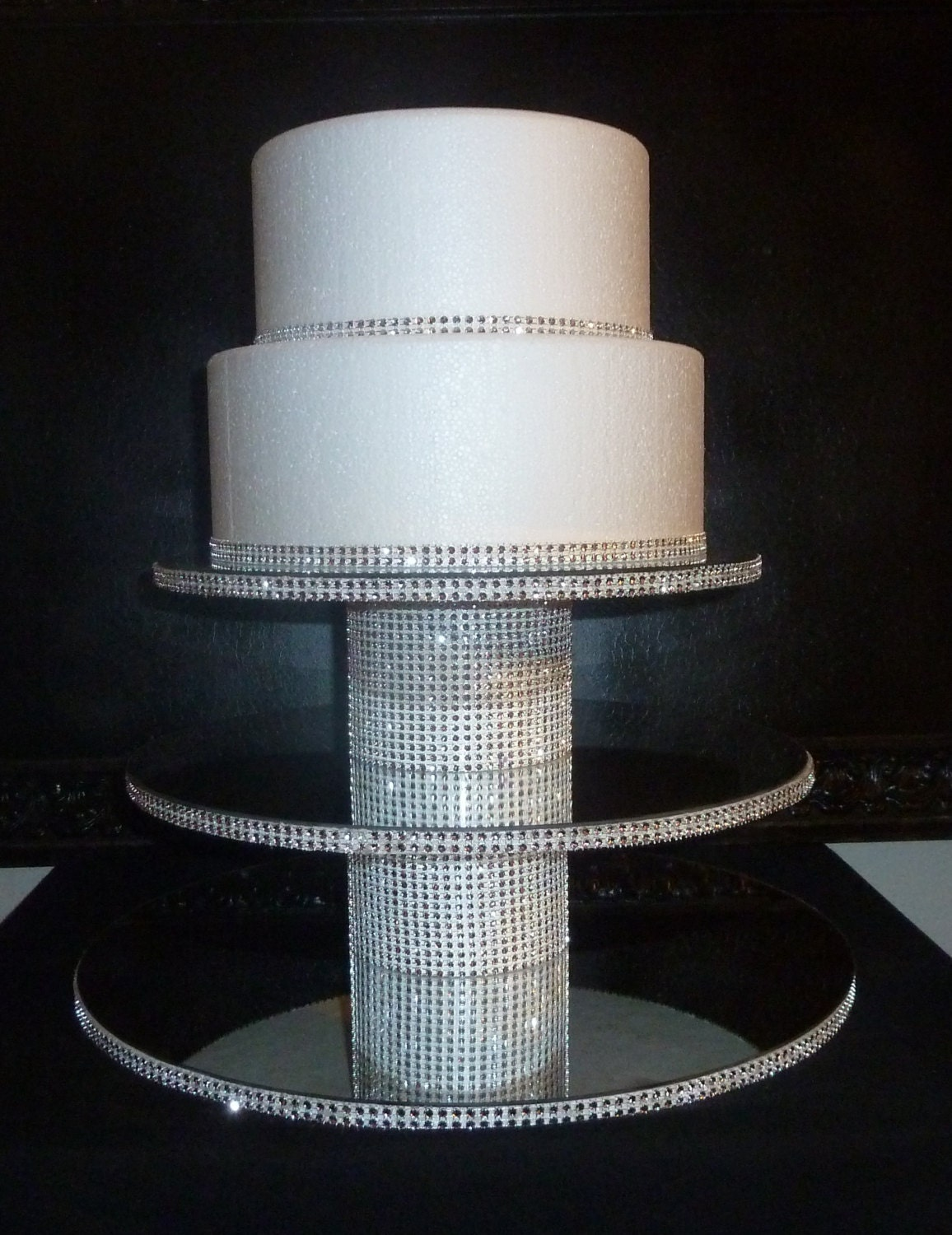 3 tier wedding cupcake stand tower with mirror top bling faux