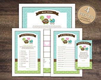 Instant Download Green Turtle Baby Shower Games Pack, Printable Turtle Bingo, Price Is Right, Wishes for Baby, Diaper Raffle 56A
