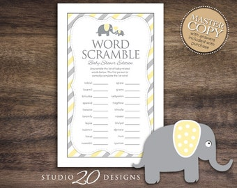 Instant Download Yellow Elephant Word Scramble Baby Shower Game Cards, Printable Word Scramble, Yellow Grey Elephant Baby Shower Game #22F