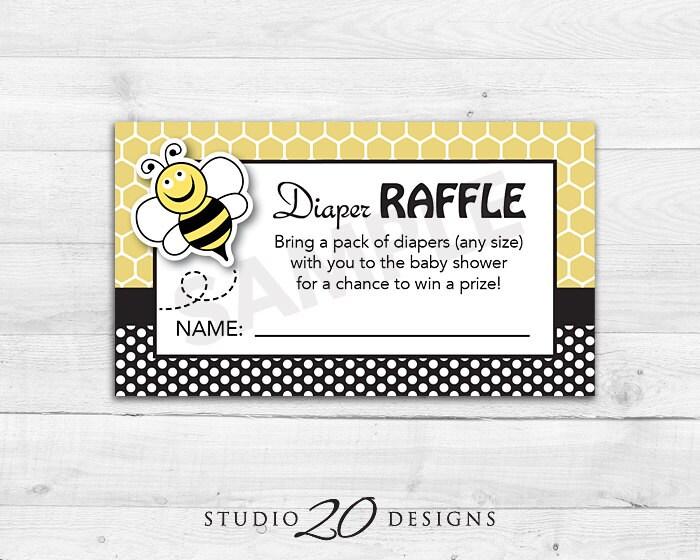instant download bee baby shower diaper raffle cards