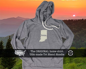 Tri Blend Pull Over Hoodie Indiana Home Sweatshirt