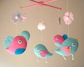 "Baby crib mobile, Bird mobile, felt mobile, nursery mobile, baby mobile ""Bird - Pink and Aqua"""