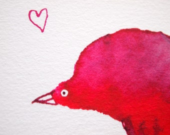 Giclee Print of Pink Bird in Love A4