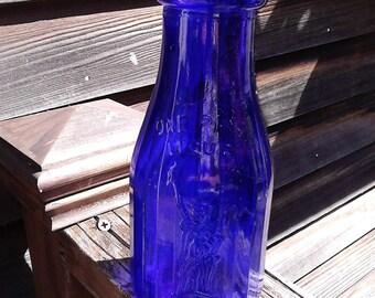 Liberty Blue Milk Bottle * Cobalt Blue * Vintage * Collectable Glass *Vintage Advertising* Pint Bottle