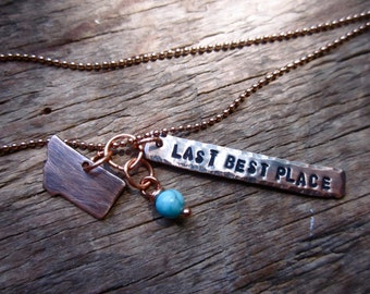 Montana: Last Best Place Silhouette Cutout Three Piece Copper Pendant With Turquoise