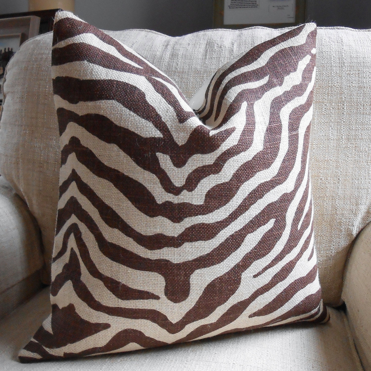 Animal Print Pillow Covers : Zebra animal print burlap pillow cover in brown by LowCountryHome