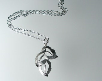 Silver Art Deco Pendant Necklace, Silver Necklace, Silver Art Deco Leaves Necklace, Bridesmaid Jewelry (N183S.)