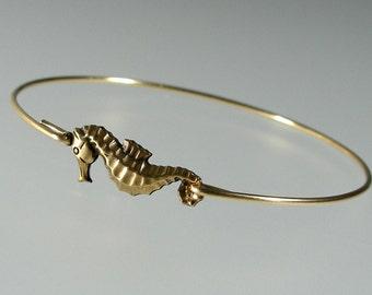 Gold Sea Horse Bangle Bracelet, Gold Bangle Bracelet, Gold Bracelet, Beach Jewelry, Beach Bangle, Beach Wedding (162G.)