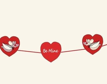 PDF - Sunbonnet Sue BE MINE Valentine Banner Pattern