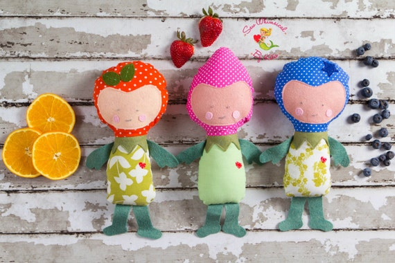 Set of 3 (three) Fruit People Dolls, Strawberry, Blueberry and Orange Doll, Polka Dot Fruit Softies,