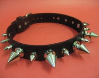 Choker Collar Silver Metal Spike Choker 09