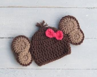 Monkey Hat / Baby Monkey Hat / Crochet Monkey Hat / Monkey Photo Prop / Crochet Baby Monkey Hat / Zoo Photo Prop