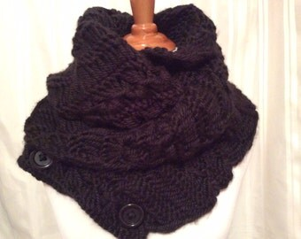 Accessory, Convertible Infinity Scarf, Soft, Knitted Chunky Scarf, Neck Warmer,Black Color Infinity Scarf or Select Color