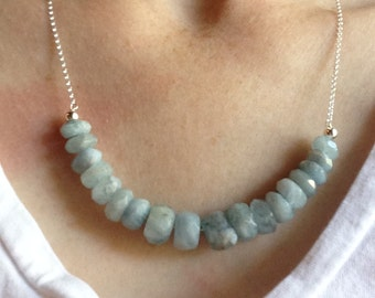 Faceted Aquamarine & Sterling Silver Necklace