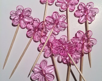 Flower cupcake toppers, Cute appetizer picks, Spring tooth picks, cute tooth picks,  Flower toothpicks set of 12