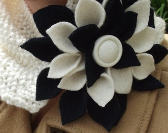 Cream Colored Hand Knitted Neck Scarf with Dark Navy Blue and Cream Upcycled Felted Wool Flower Accent