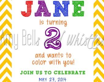 Colorful Crayola Crayon Birthday Invitation Custom Personalized - Digital File