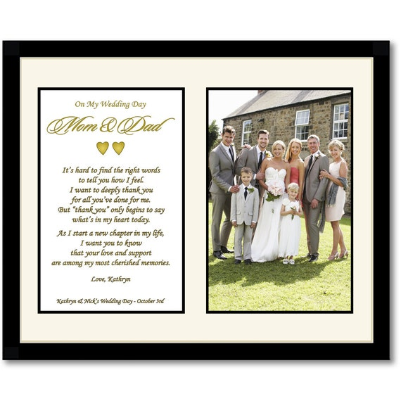 Thank You Present For Parents After Wedding : Wedding Thank You Gift for Parents - 8x10 Matted Frame - Add 4x6 Photo ...