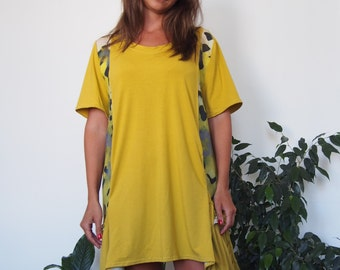 Over-sized Long Jersey-Linen Tunic Mini Dress Plus size Tunic with Pocket