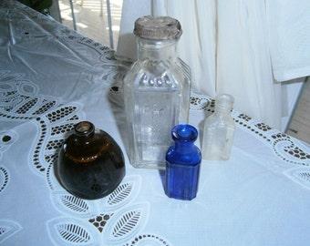 4 Old Glass Bottles,Cobalt,Brown,Clear