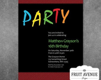 Teenage Boy Birthday Party Invitation - Printable