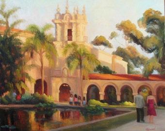 "San Diego painting, ""Summer Evening-Balboa Park"", original oil painting by Sherri Aldawood, 20""x24, impressionist"