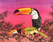 """Art Painting - Mixed Technique Batik and Aquarelle - Home Decor - Toucans- Wildlife - Silk Wall Hanging - One of a Kind (16"""" X 15"""" inch.)"""