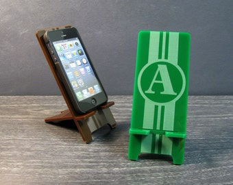 Personalized Initial Monogram Smart Phone Stand Docking Station 5 Sizes - 9 Colors - iPhone 6, 6 Plus, iPhone 5, Samsung Galaxy, Universal