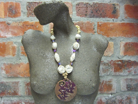 Pendant Necklace, Statement Necklace, Occasion Necklace, Handmade by South African artist Yoka Wright using African Clay Beads #166
