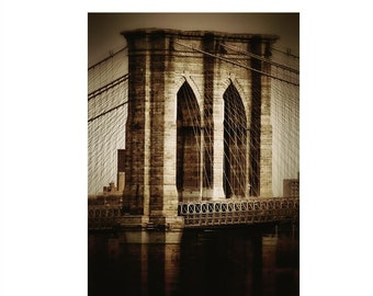 Brooklyn Bridge Art Print in Sepia Earth Tones • New York Photography Large Wall Art • 8x10 - 16x20