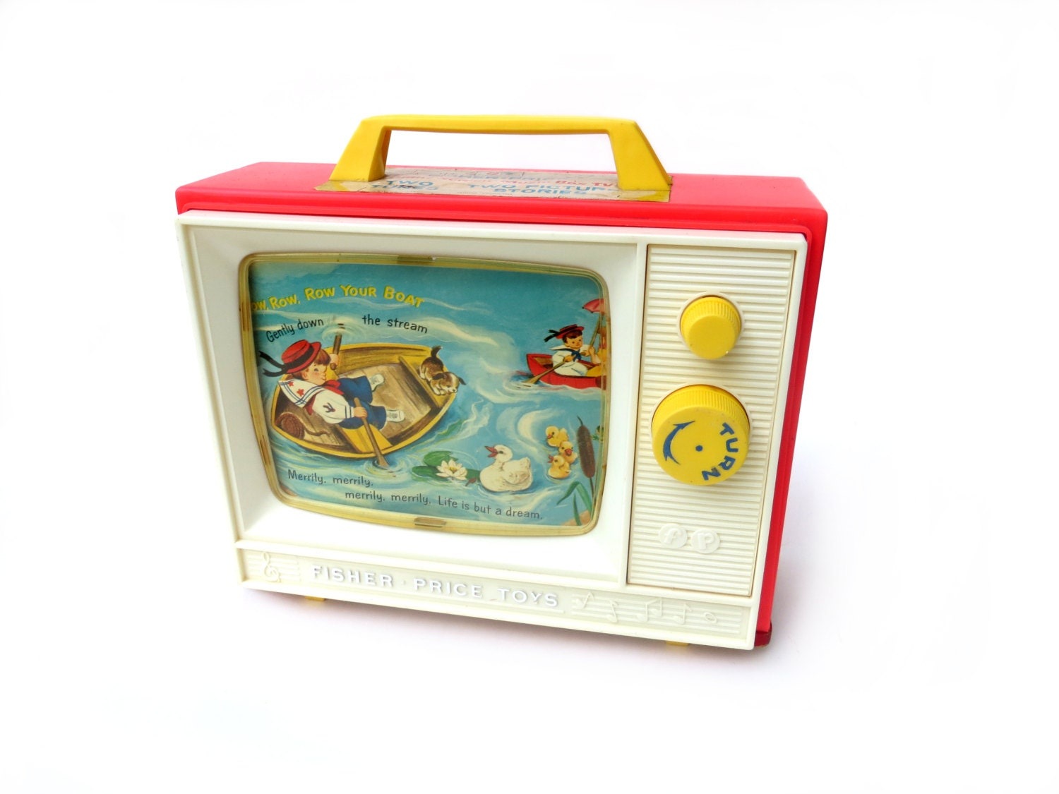 C1966 Fisher Price Giant Screen Music Box Tv Toy 114 With