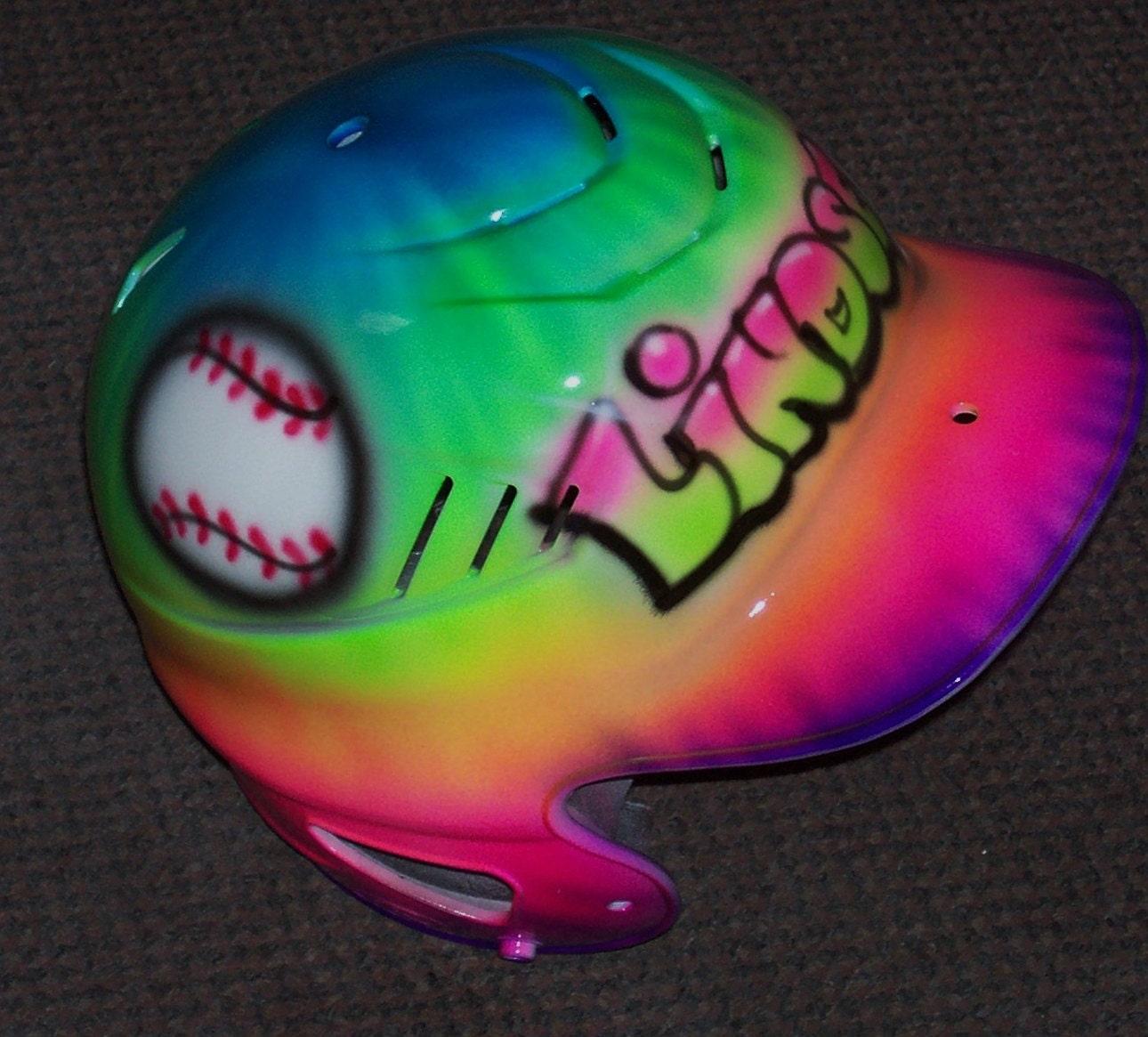 Airbrush Batting Helmet Tie Dye Baseball Softball
