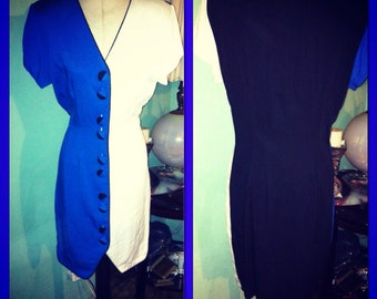Vintage color-block two tone mini dress