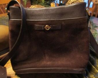 Etienne Aigner Brown Suede/Leather Purse/Handbag