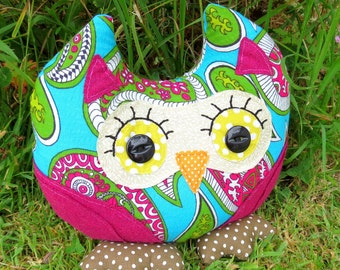 Paisley, a groovy owl doorstop.  Owl bookend.  1970s paisley fabric.