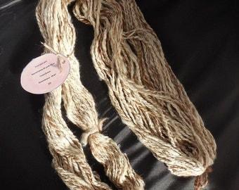 Handspun Alpaca yarn in a cream and brown