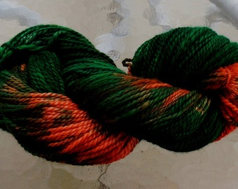 Hand dyed Alpaca yarn persimmon and green 2 ply worsted skein