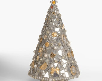 silver and gold christmas tree mosaic statuette - Gold Christmas Trees