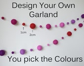 Design Your Own Garland 1cm & 2cm sized Felt Balls - You Choose the Colours, Wedding Party Decor, Custom Bunting, Pom Pom Nursery Garland