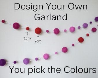 Design Your Own Garland 1cm & 2cm sized Felt Balls - You Choose the Colours, Wedding Party Decor, Custom Bunting, Pom Pom Nursery Garland